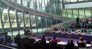 Boris Johnson answers questions from the London Assembly. Photo: MayorWatch